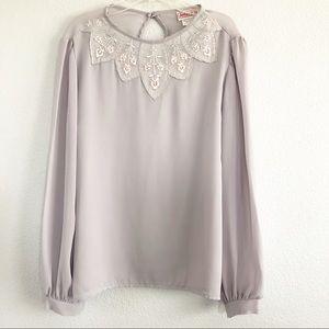 Vintage Light Gray Pink Floral Top Sz Medium